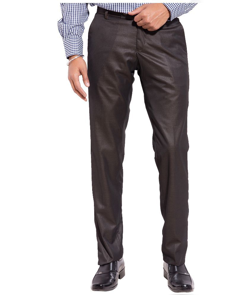 Truso Brown Slim Fit Flat Trousers
