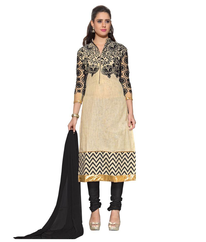 Varayu Beige Cotton Straight Semi Stitched Dress Material