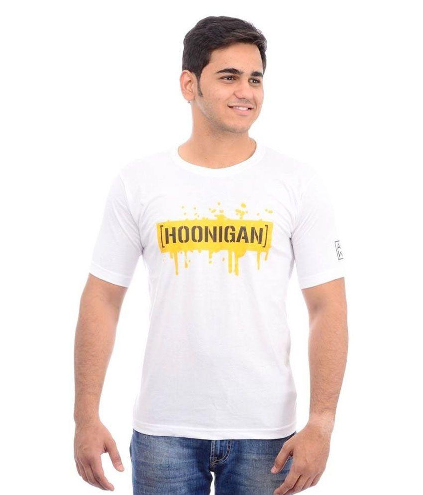 A M W B White Round T Shirt