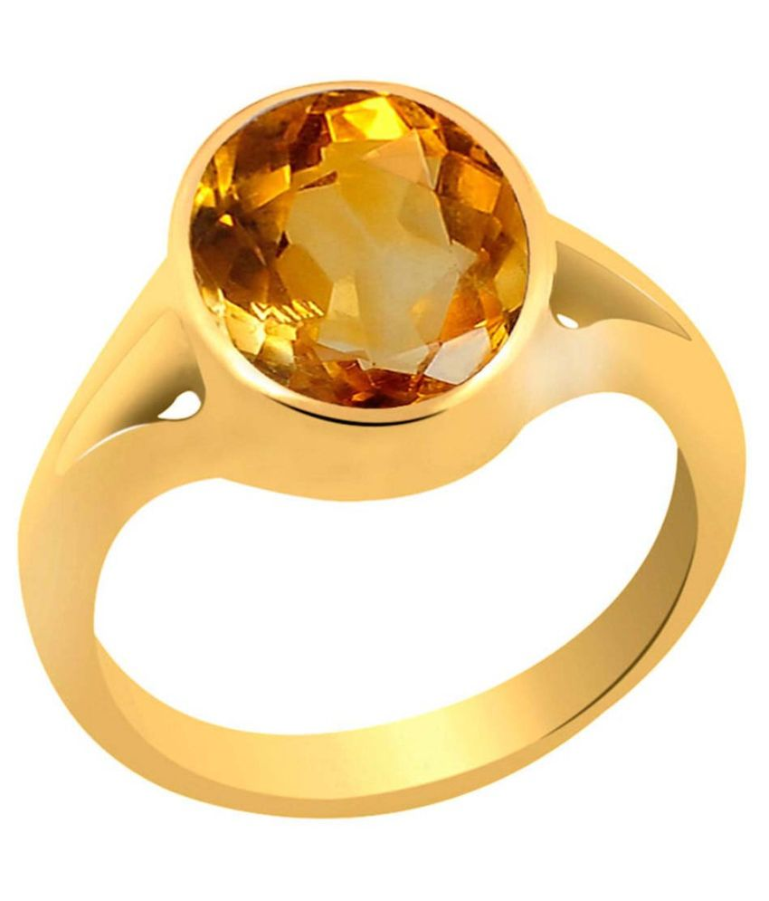 Clara 3.9 carat or 4.25ratti Panchdhatu Gold Plating Citrine Astrological Ring