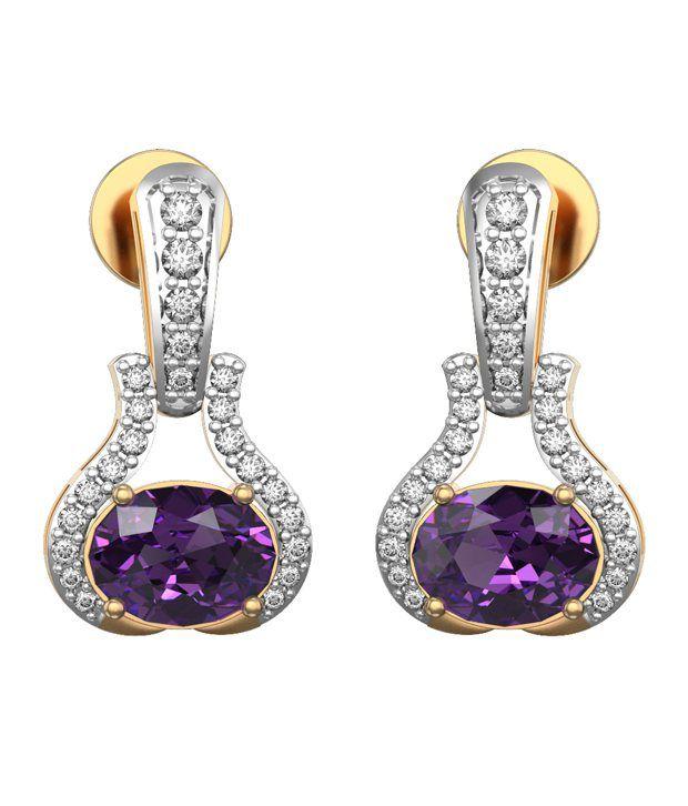 I Love Diamonds 18kt Gold Amethyst Drop Earrings