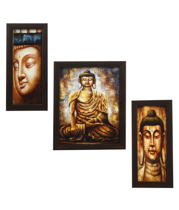 Indianara 3 Piece Set Of Framed Wall Art - Gautam Buddha