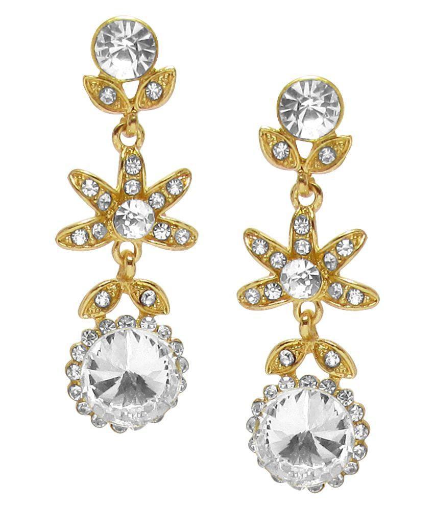 Jewelz Golden Alloy Hanging Earrings
