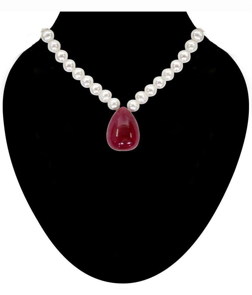 Surat Diamonds Red Pearls Necklace