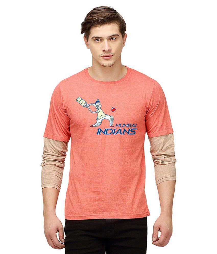 Campus Sutra Peach Round T Shirt