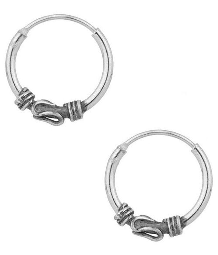 Factorywala Silver Alloy Hoop Earrings