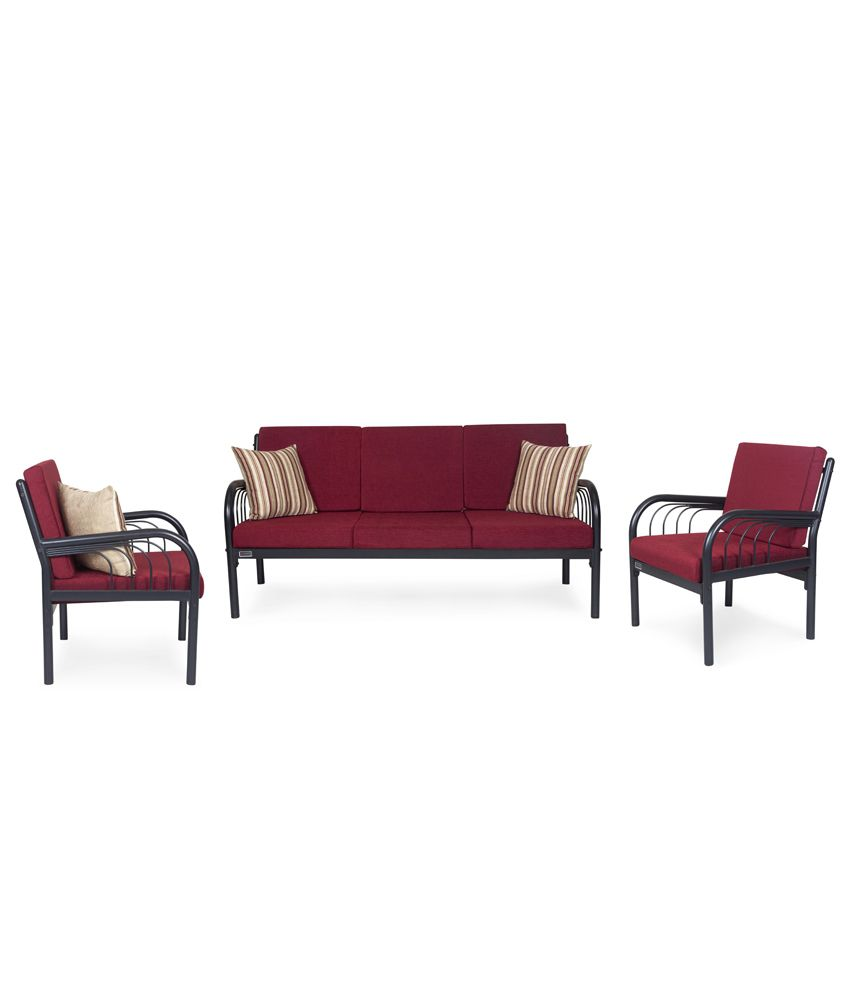 5f53838af69 Furniturekraft Metal 3+1+1 Sofa Set- Maroon - Buy Furniturekraft Metal ...