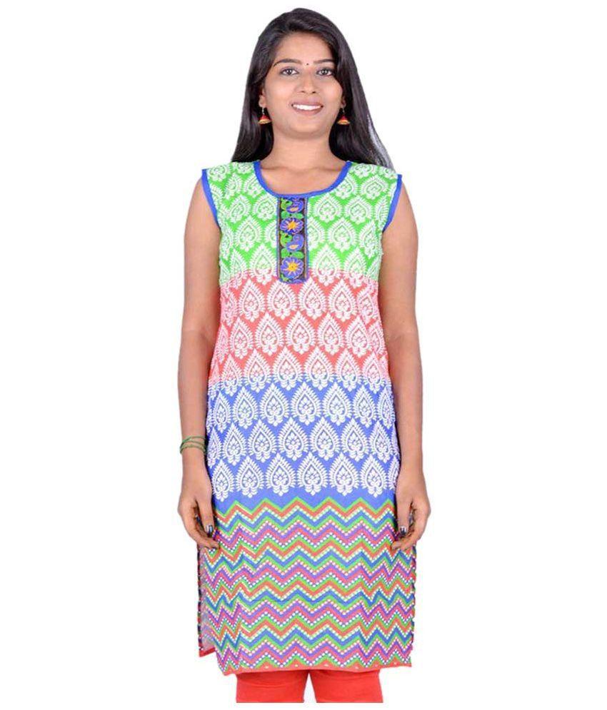 Rangolisf Multicoloured Poly Rayon Straight Kurti