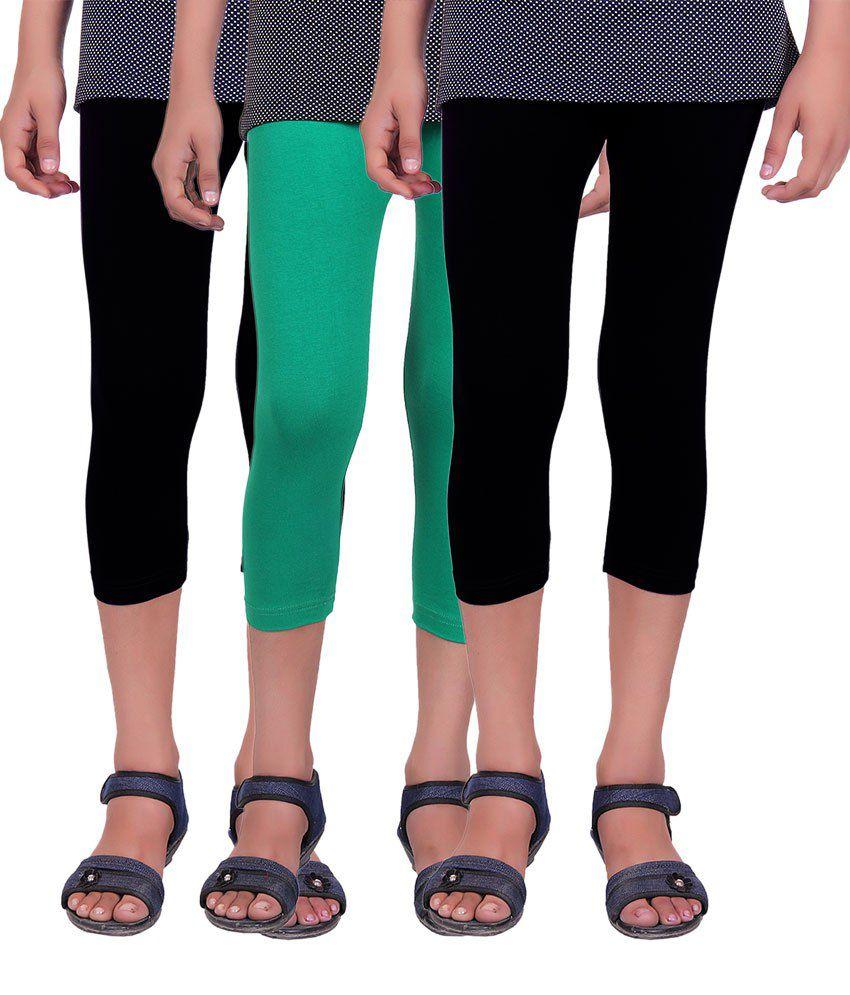 Alisha Black and Green Cotton Lycra Capris (Pack of 3)