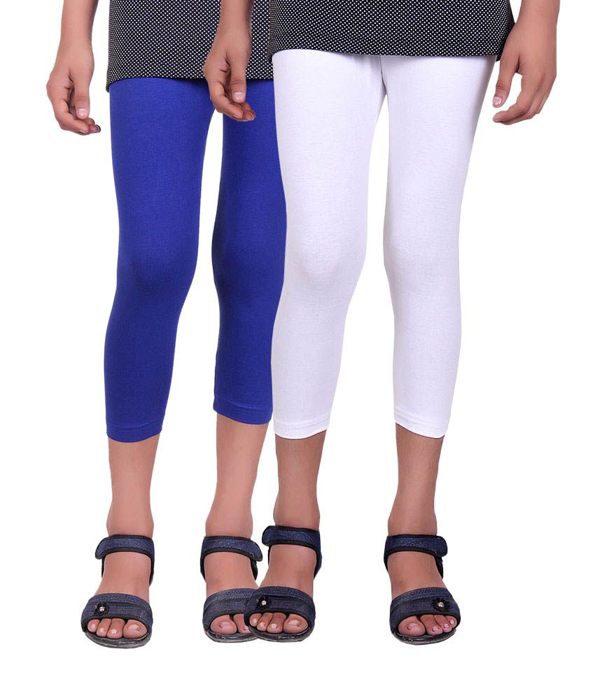 Alisha Blue and White Cotton Capris (Pack of 2)