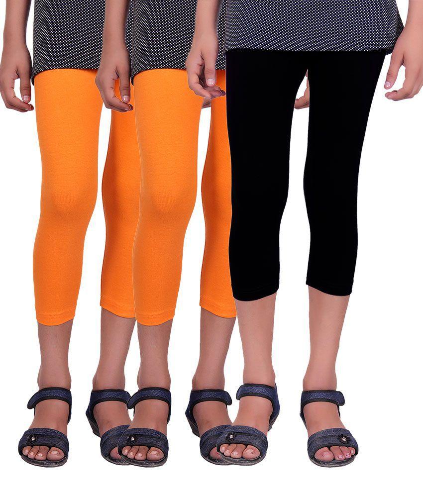Alisha Orange and Black Cotton Lycra Capris (Pack of 3)