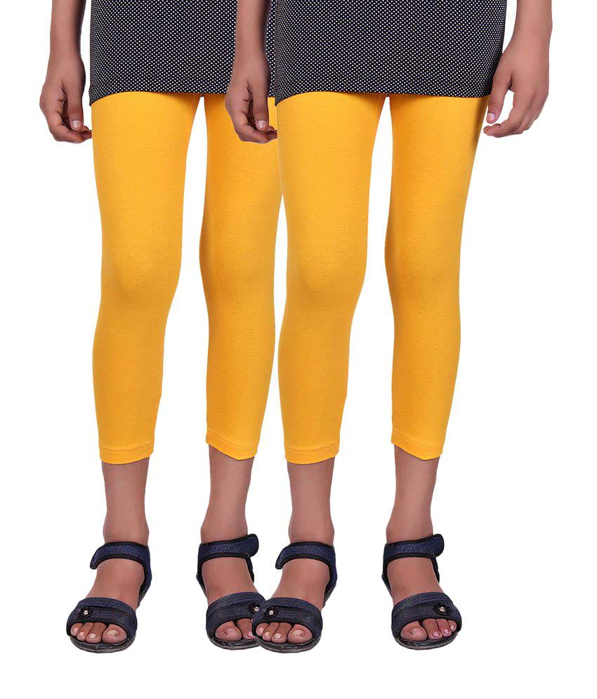 Alisha Yellow Cotton Capris (Pack of 2)