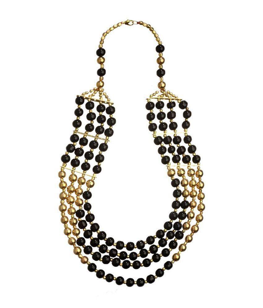 Jewels Gold Golden & Black Alloy Necklace