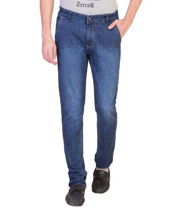 R4U Denim Factory Blue Slim Fit Solid Jeans