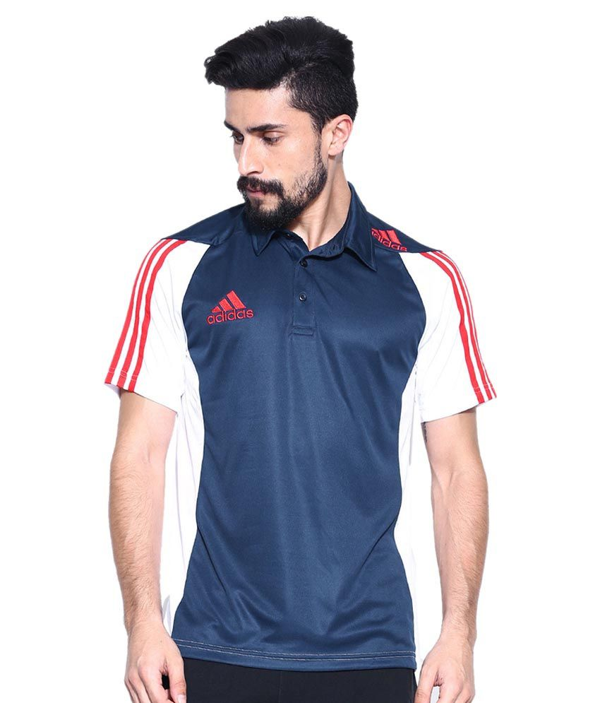 Adidas Ind Pol Cricket Polo T-Shirt - Navy & White