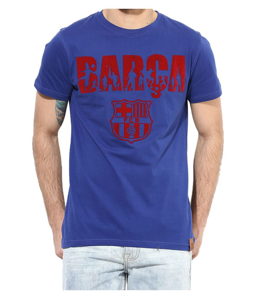 Barcelona T Shirt Mens Barca Round Neck