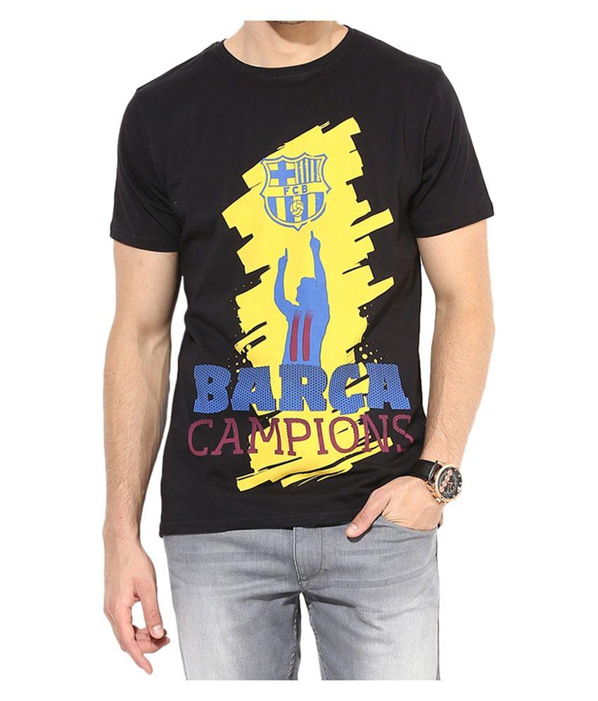 Barcelona T Shirt Mens Campions Round Neck