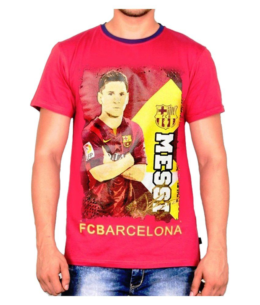 Barcelona T Shirt Mens Messi Round Neck
