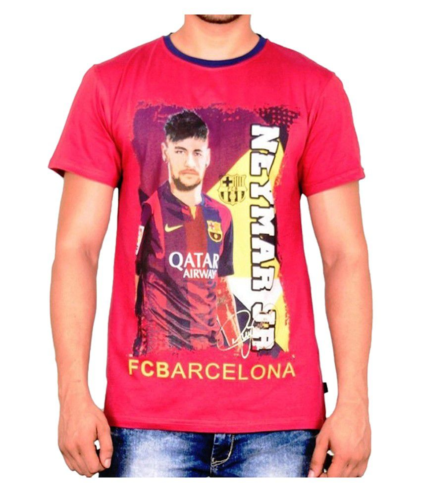 Barcelona T Shirt Mens Neymar Round Neck