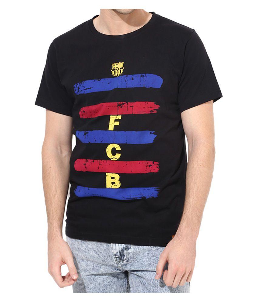 Barcelona T Shirt Mens Printed Stripe Round Neck
