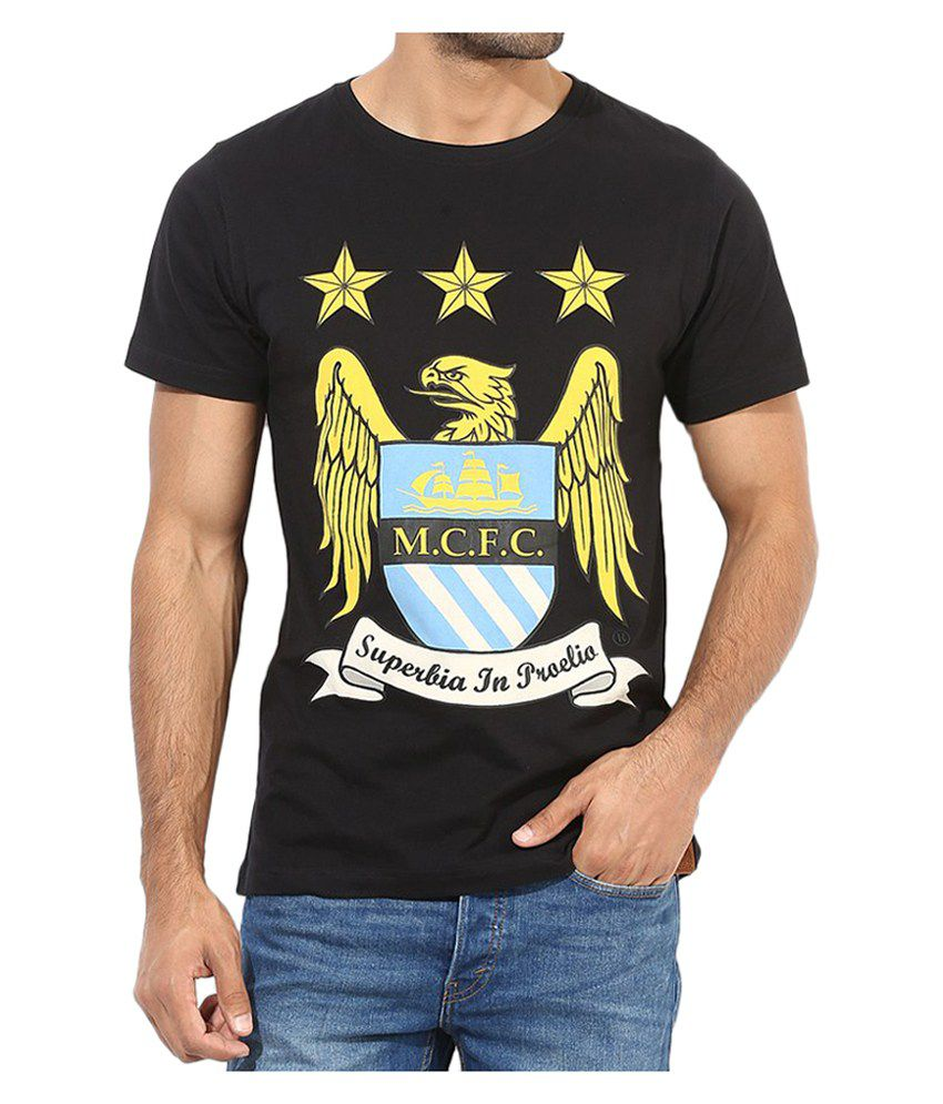 Manchester City F.C. T Shirt Mens Crest Round Neck