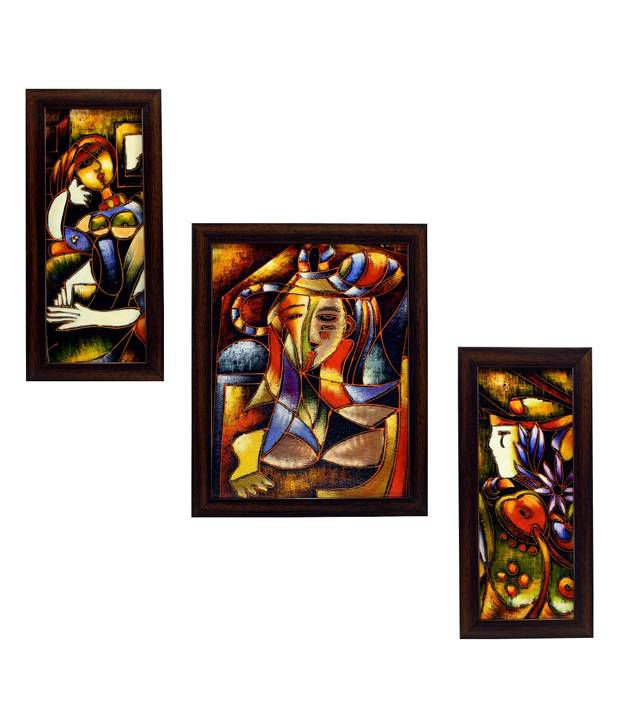 indianara 3 piece set of framed wall art mysterious women buy indianara 3 piece set of framed. Black Bedroom Furniture Sets. Home Design Ideas