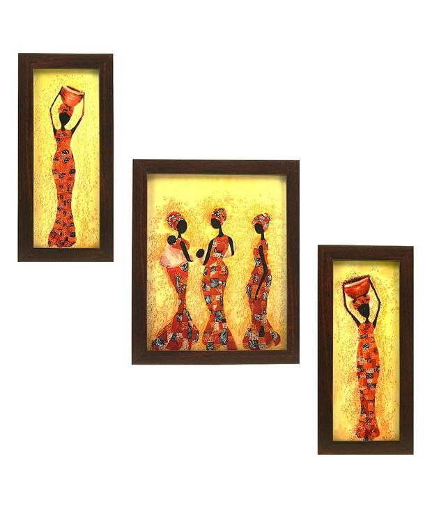 Indianara Toiling African Women Framed Wall Art Set Of 3