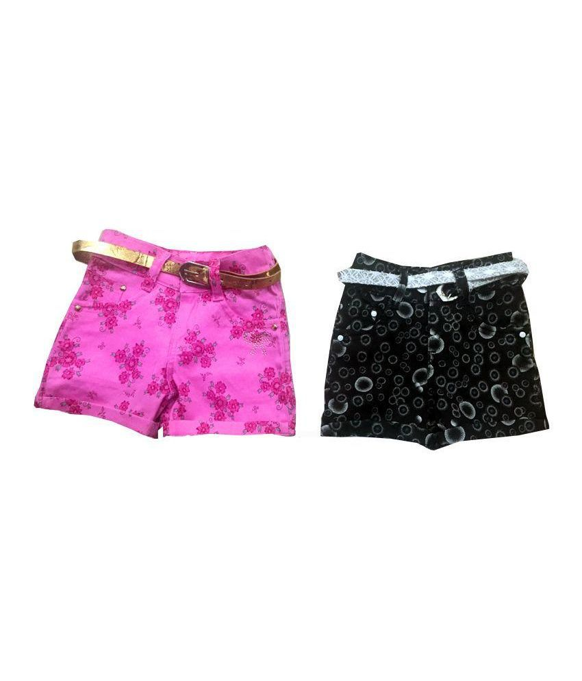 Vodoo Kids Multicolour Cotton Shorts - Pack of 2