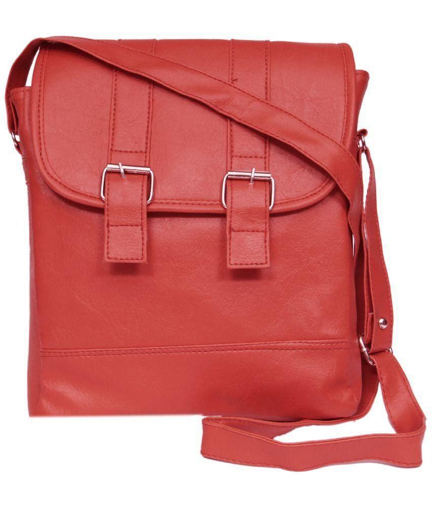 Zasmina Red Faux Leather Sling Bag