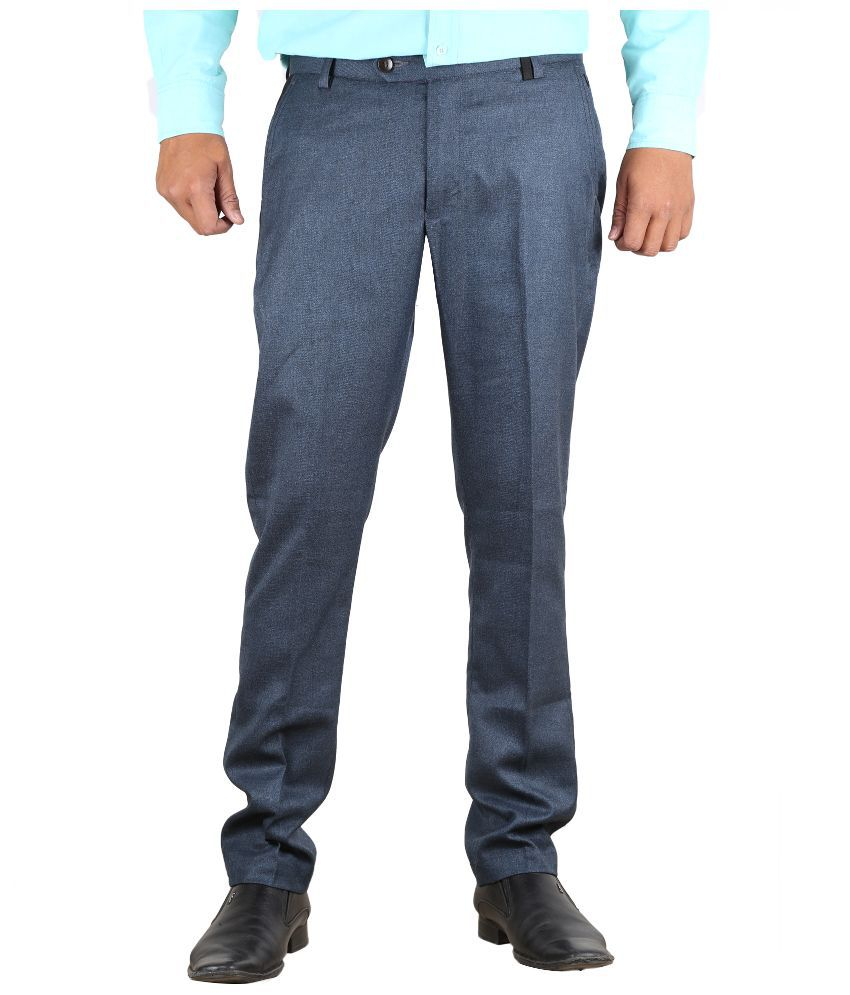 Vandnam Fabrics Blue Slim Fit Flat Trousers