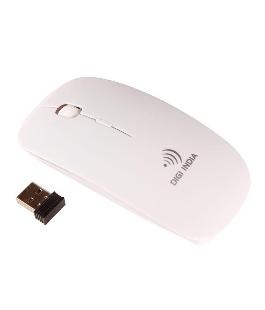 Digi India Blkmose Wireless Optical Mouse (USB, White)