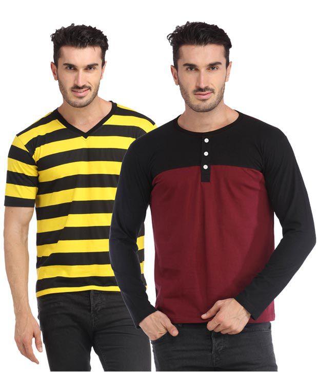 Leana Multicolour T Shirt - Pack Of 2