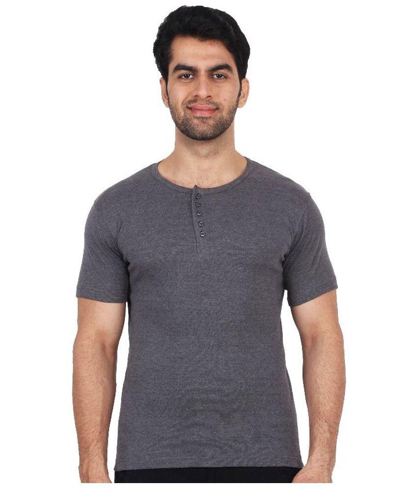 Fashcom Grey Henley T Shirt