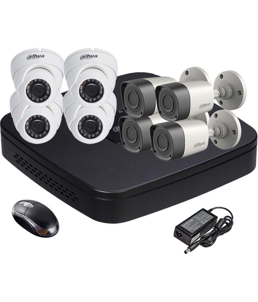 Dahua DH-HCVR4108C-S2 8CH Dvr, 4(DH-HAC-HFW1000RP-0360B) Bullet, 4(DH-HAC-HDW1000RP-0360B) Dome Camera (With Mouse)