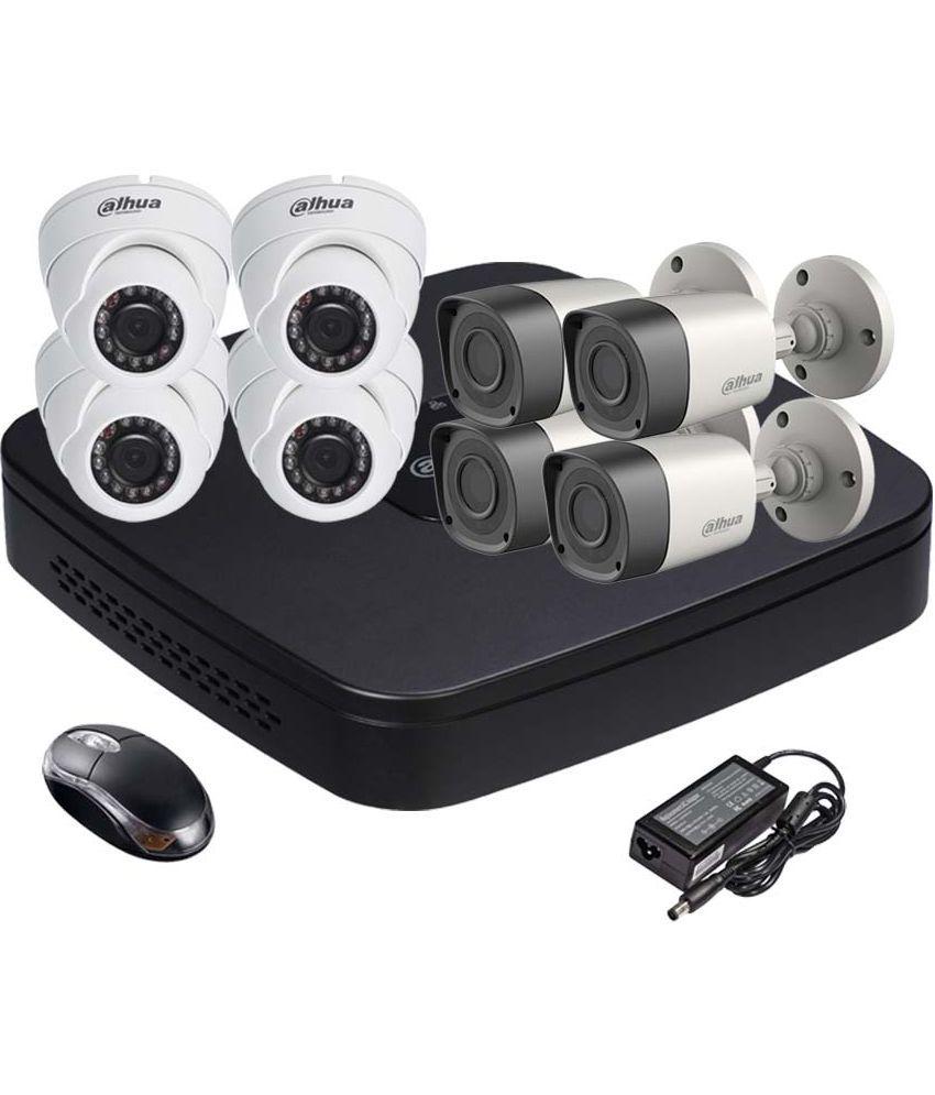 Dahua DH-HCVR4108C-S2 8CH Dvr, 4(DH-HAC-HFW1000RP-0360B) Bullet, 4(DH-HAC-HDW1000RP-0360B) Dome Camera (With Mouse)