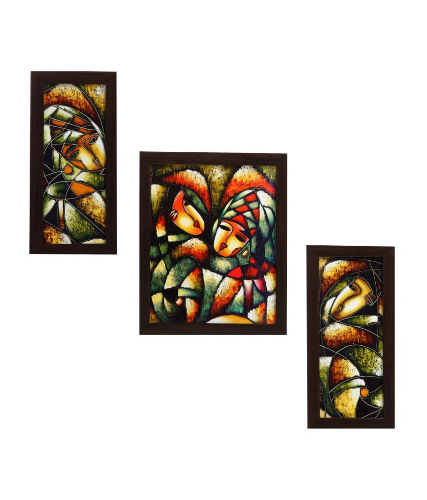 Indianara 3 Piece Set Of Framed Wall Art - Abstract Faces