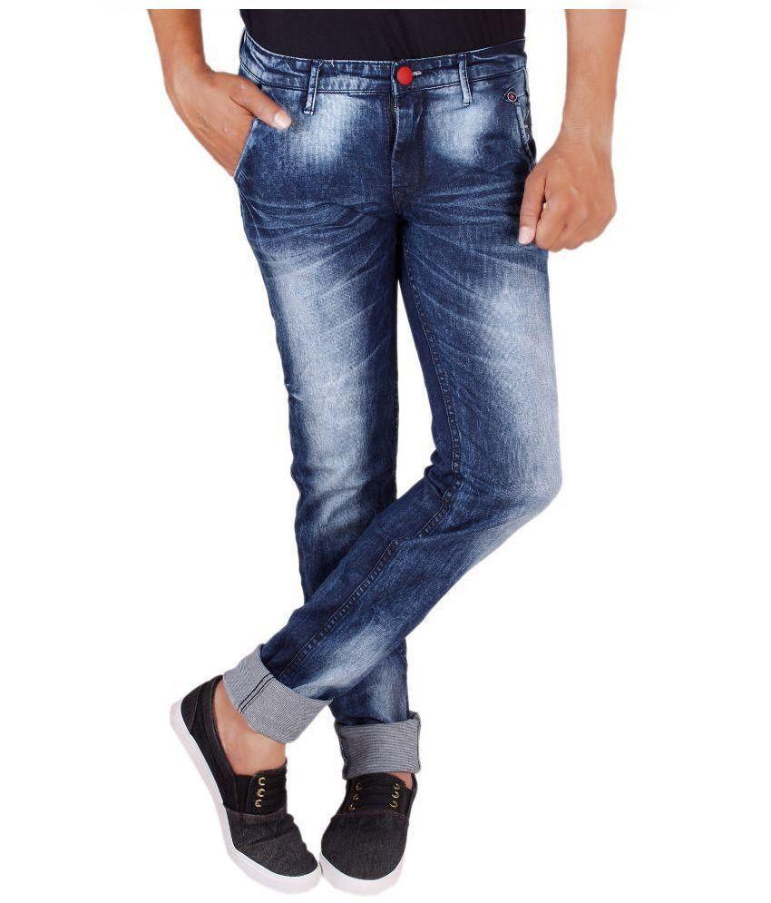 Luker Blue Slim Fit Distressed Jeans