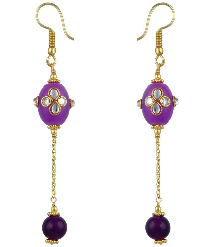 Pearlz Ocean Golden Alloy Hanging Earrings