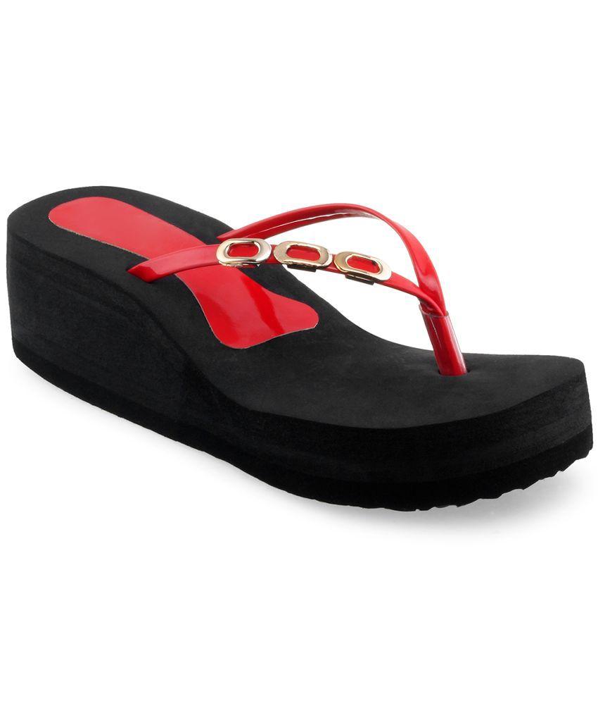 Shoe Lab Red Flip Flops