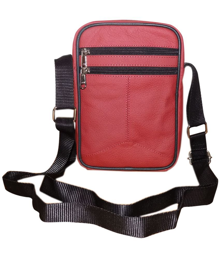 Style 98 Red Pure Leather Sling Bag