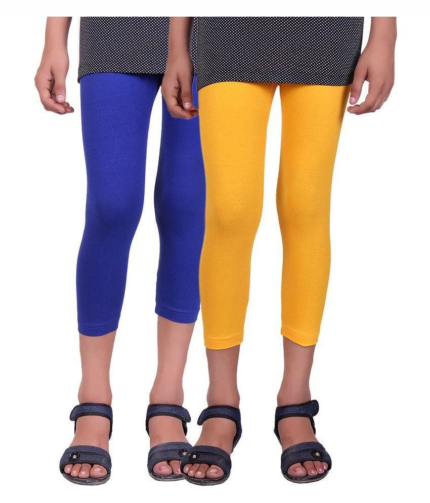 Alisha Multicolour Cotton Capris for Girls - Pack of 2