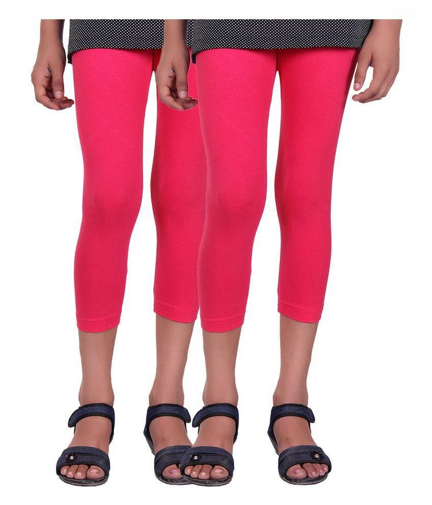 Alisha Pink Cotton Capri - Pack of 2