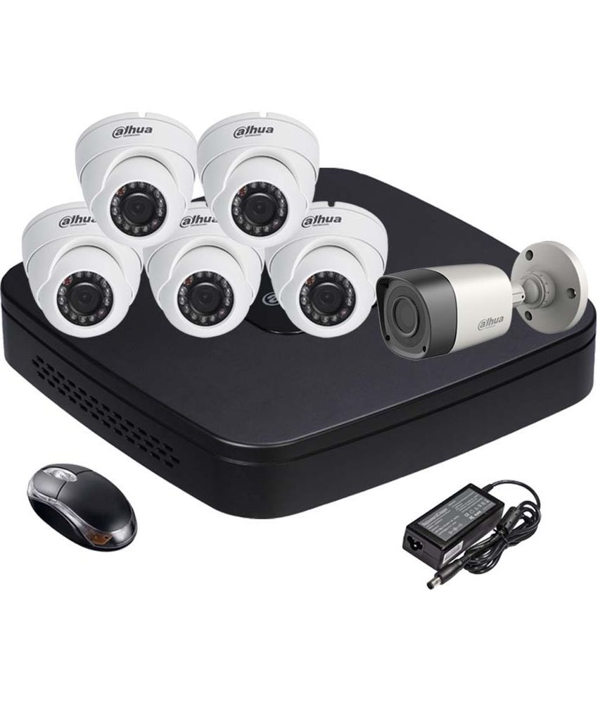 Dahua DH-HCVR4108C-S2 8CH Dvr, 1(DH-HAC-HFW1000RP-0360B) Bullet, 5(DH-HAC-HDW1000RP-0360B) Dome Camera (With Mouse)