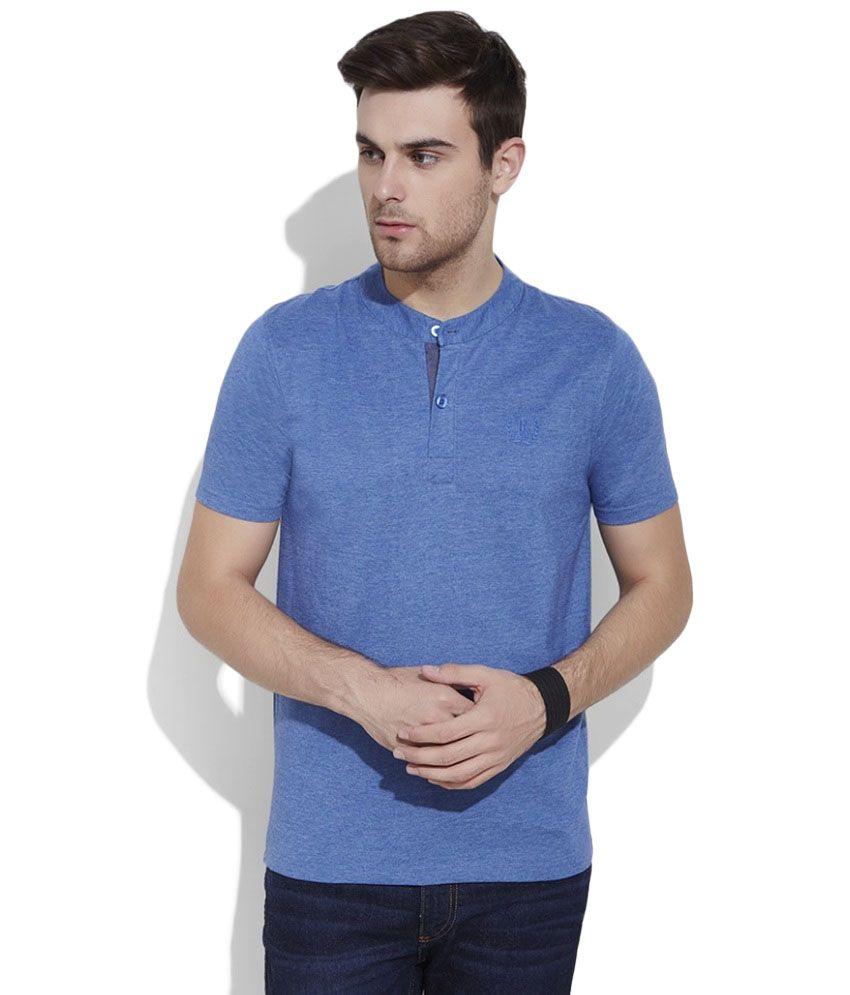 Urban Nomad Blue Henley T Shirt