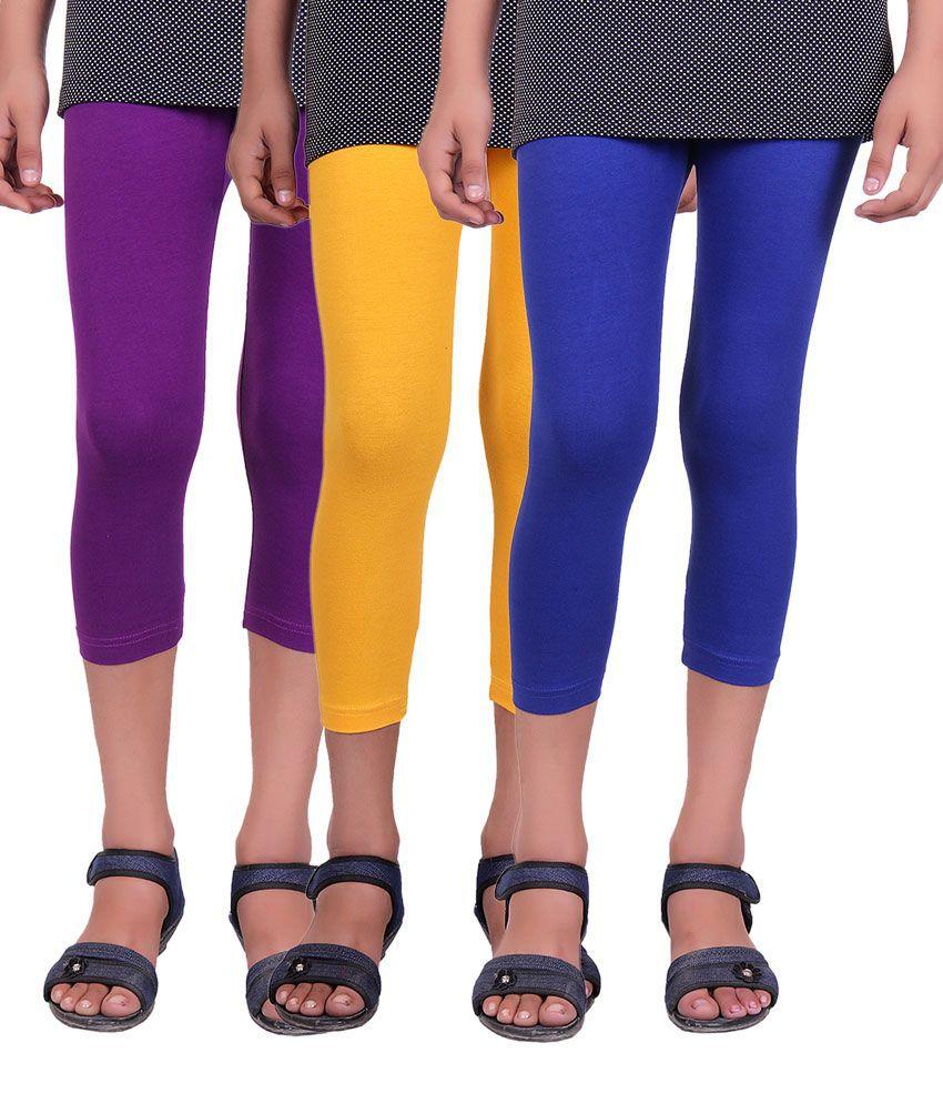 Alisha Multicolor Cotton Kids Capri - Pack of 3