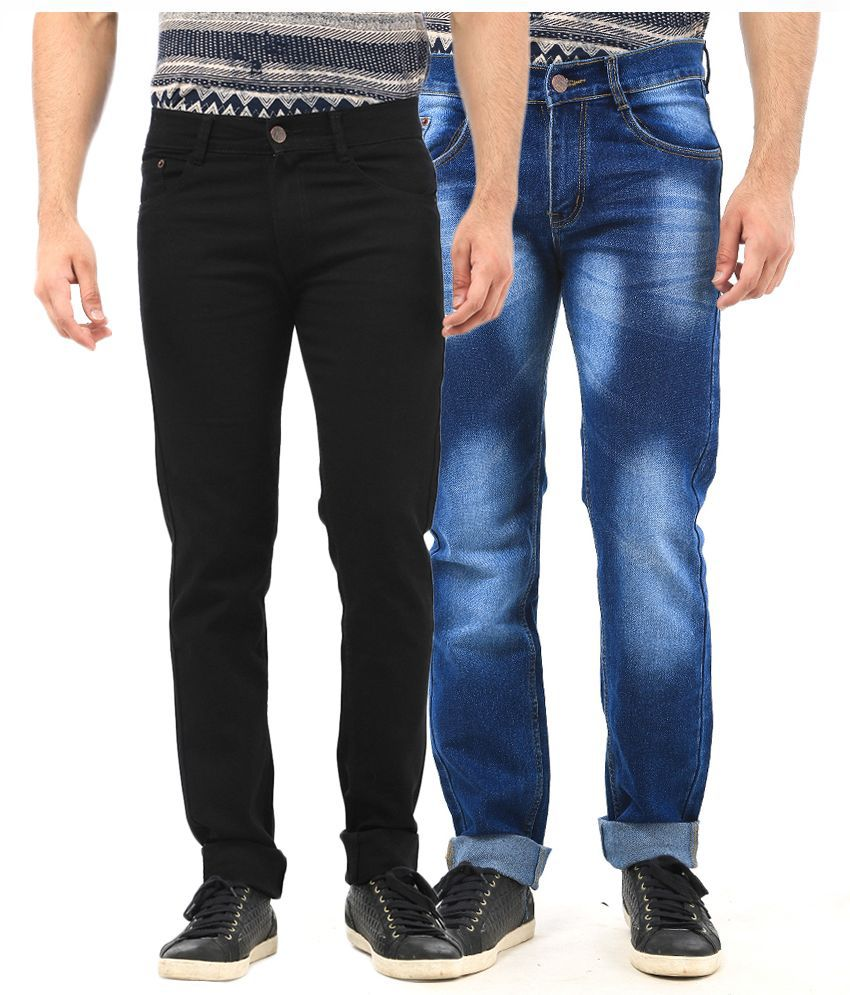Ave Multi Regular Fit Faded Blue and Black Jeans - Pack of 2