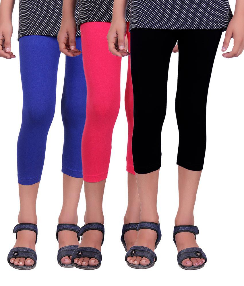 Alisha Cotton Lycra Kids Capri - Pack of 3