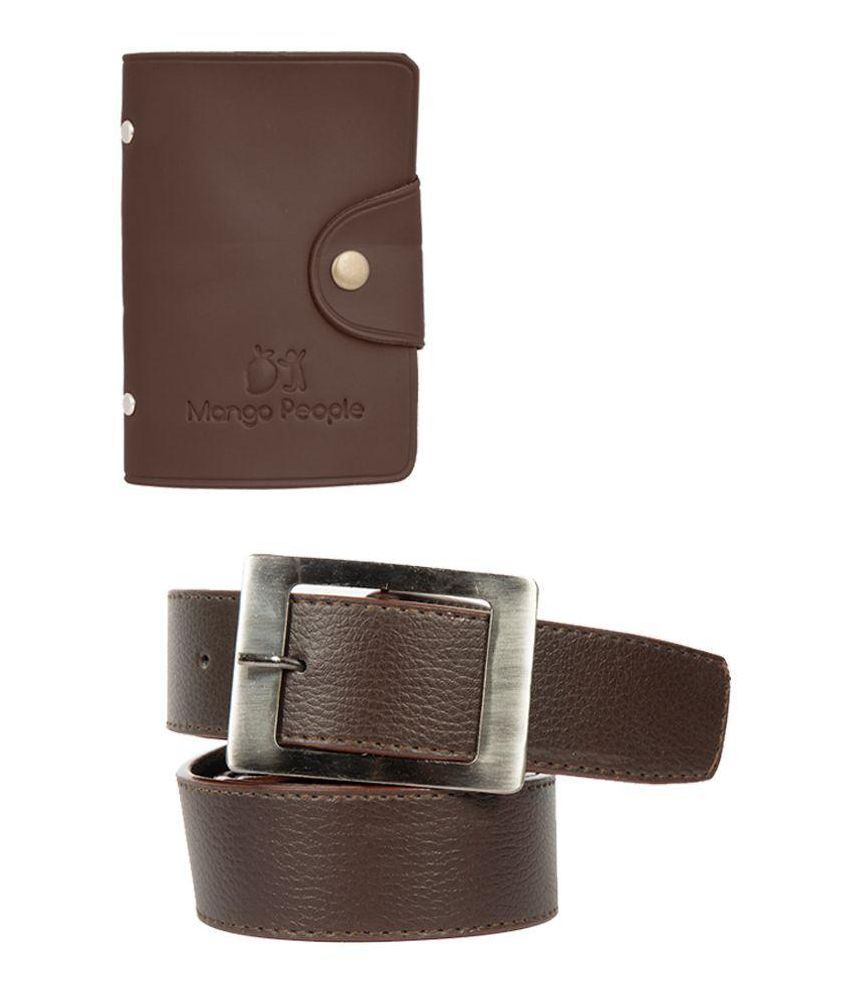 Mango People Brown Combo of H-Buckle Belt with Leatherite Card Holder