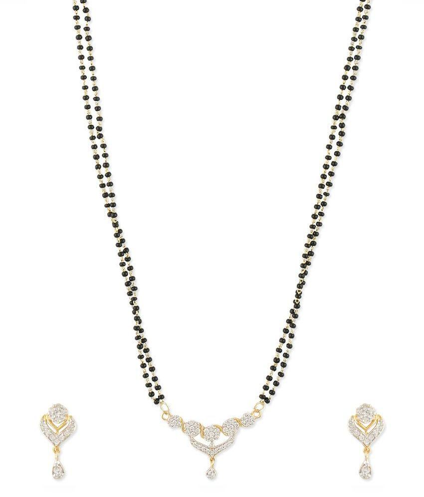 Zaveri Pearls Silver Brass Mangalsutra Set
