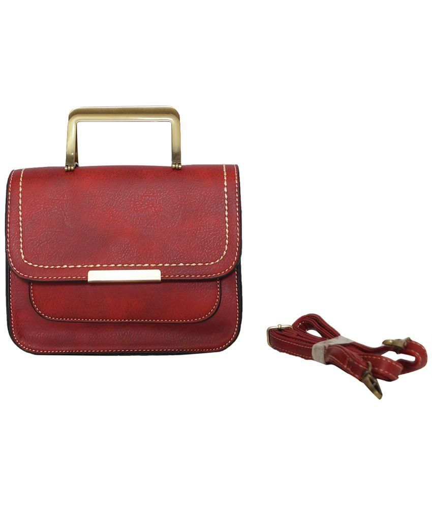Albeni Fashions Red Faux Leather Handheld